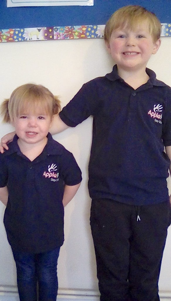 Two of our lovely children modelling our unique shirts